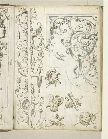 Croquis décoratif : arabesques, guirlandes, grotesques, trophées militaires