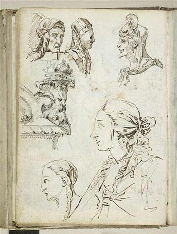 Etudes de têtes de figures et de mascaron