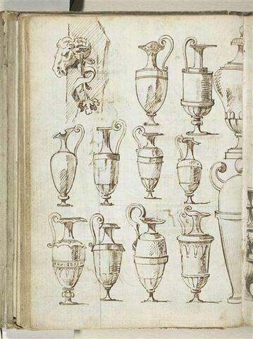 Feuille d'études de vases ; motif décoratif à tête de bélier