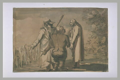 Le comte Ehrensvard, son curé et un paysan, conversant
