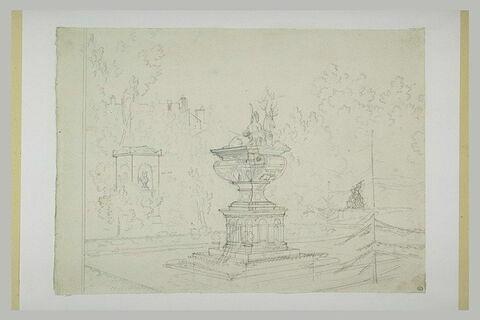 Vue du Musée des Monuments Français avec la fontaine du château d'Anet
