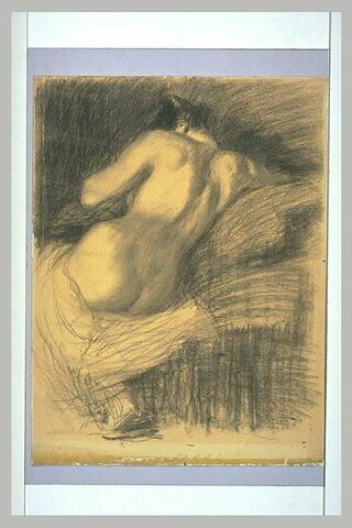 Femme nue assise, vue de dos