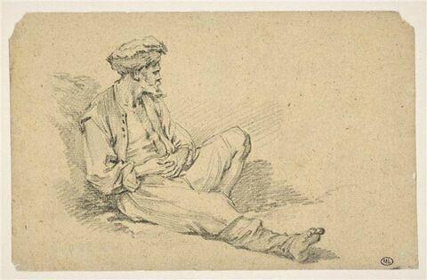 Homme barbu, coiffé d'une toque de fourrure