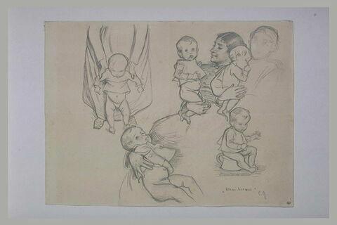 Etudes d'un enfant et de sa mère et étude d'un enfant assis