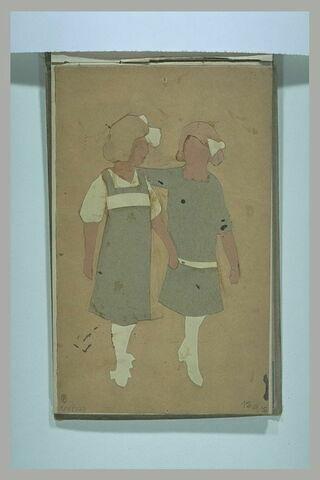 Deux silhouettes de fillettes découpées