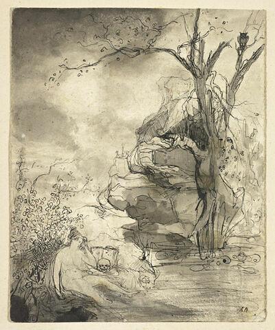 Femme nue assise au bord de l'eau, près d'un crâne : sainte Madeleine (?)