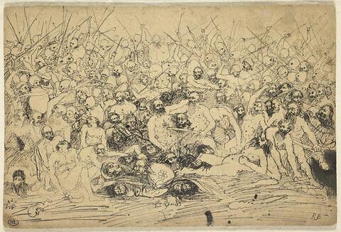 Scène de bataille d'hommes nus