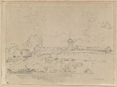 Paysage près d'un plan d'eau avec un moulin