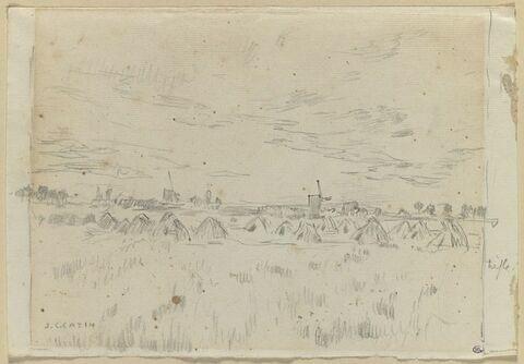 Paysage de campagne avec des meules et des moulins