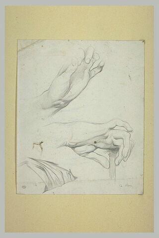 Deux études de mains ; draperie