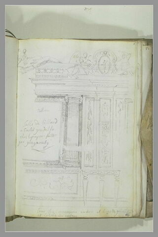 Vue de décoration intérieure d'une salle de billard à Castel Gondolfo