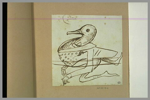 Croquis caricatural d'un personnage à corps et tête de canard