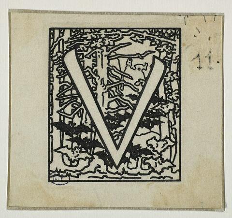 Lettrine ornée pour la 'Légende de saint Julien l'Hospitalier' : 'V'