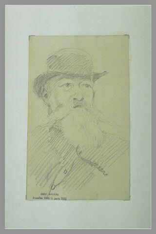 Portrait d'homme barbu, coiffé d'un chapeau