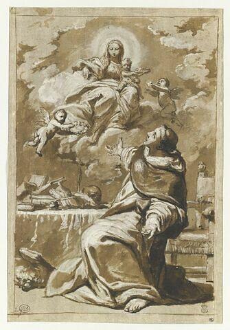 Apparition de la Vierge avec l'Enfant, en gloire, à saint Thomas d'Aquin