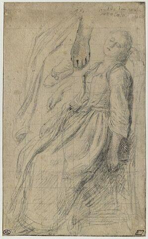 Jeune fille endormie sur une chaise ; reprises de ses mains, de son pied et de sa robe