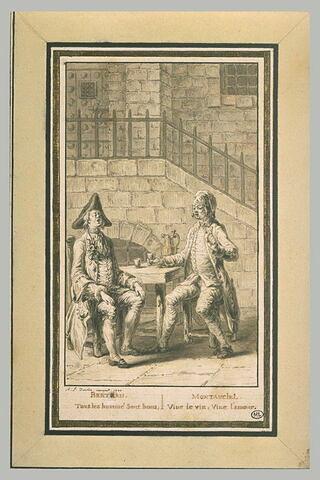 Deux hommes buvant et chantant