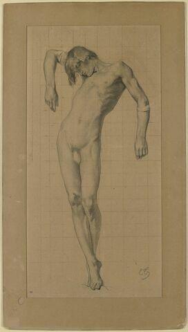 Jeune homme nu, debout, soutenu par les bras