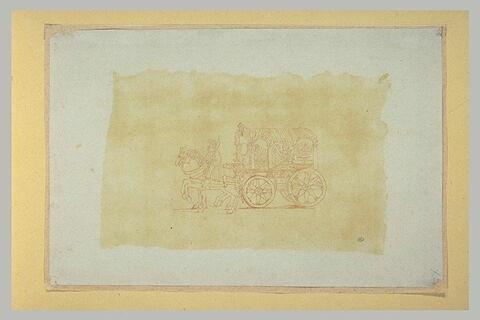 Personnages dans un chariot antique tiré par deux chevaux