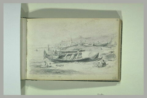 Barques et personnages sur la baie de Naples