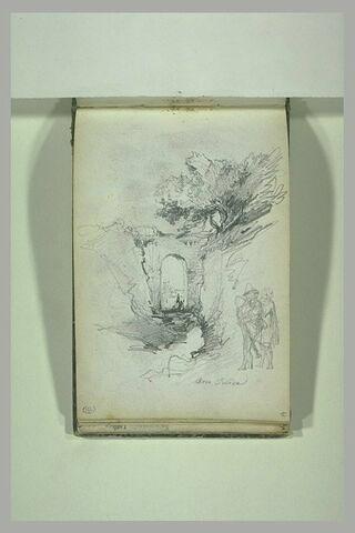 Deux figures dans un paysage italien avec un arc