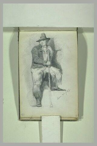 Paysan portant un chapeau et s'appuyant sur un baton