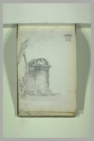 Etude d'un tombeau à la villa Borghese ; chapiteau