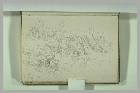 Paysage avec des femmes au bord de la rivière