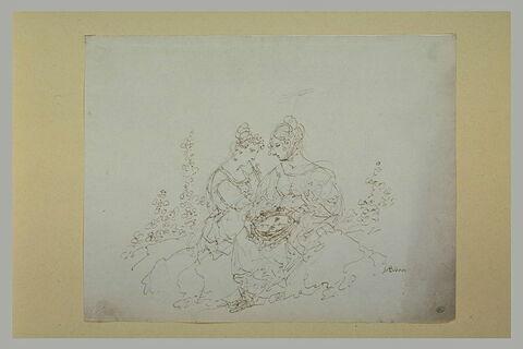 Deux femmes assises dans un paysage, jouant de la musique