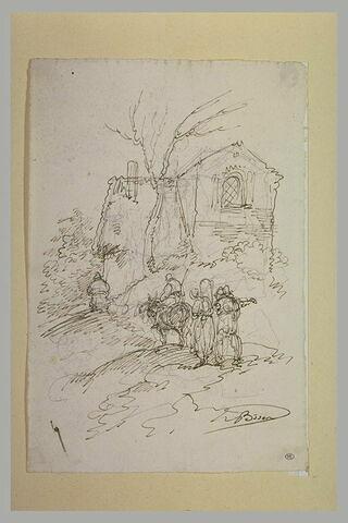 Quatre personnages, sur un chemin passant au pied d'une maison