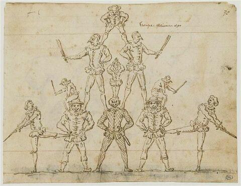 Comédiens italiens, grimpés sur les épaules, les uns des autres