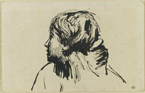 Femme au chignon, tournée vers la gauche