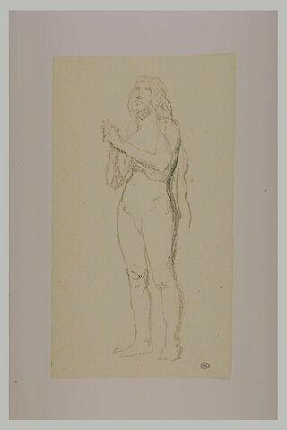 Etude de femme nue debout, les mains jointes : la Madeleine