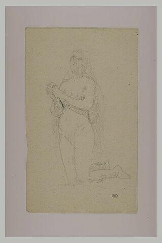 Etude de femme nue agenouillée, les mains jointes : la Madeleine