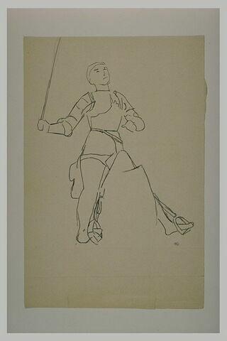 Statue équestre : Jeanne d'Arc tenant une épée