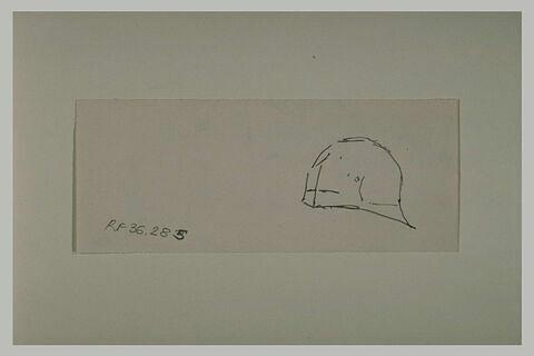 Croquis de casque, de profil à gauche