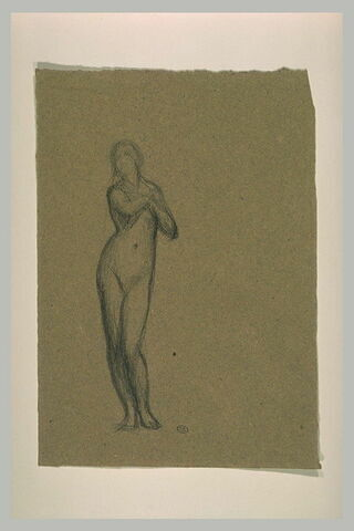 Etude pour Eve, mains sur la poitrine, figures drapées