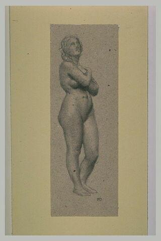 Etude pour Eve, de trois quarts à droite, mains croisées sur la poitrine
