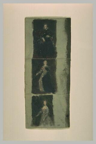 Trois portraits de femme, en robe d'apparat
