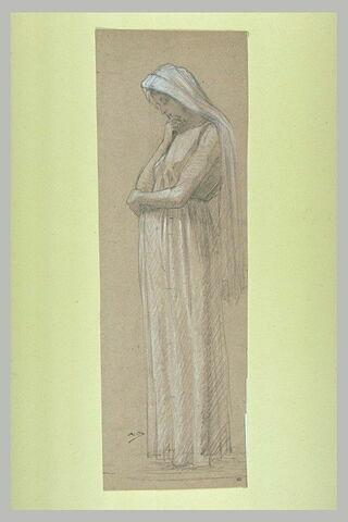 Femme drapée, coiffée d'un voile, tournée vers la gauche