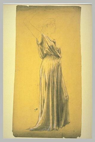 Etude de draperie pour une femme debout