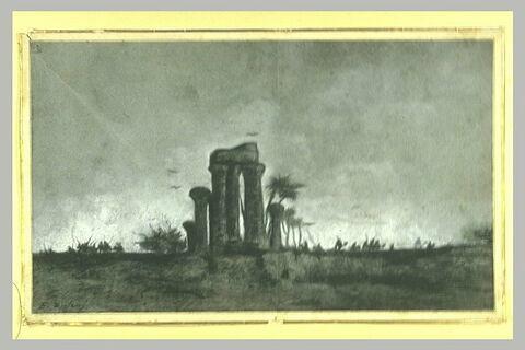 Paysage d'Egypte avec un temple en ruines