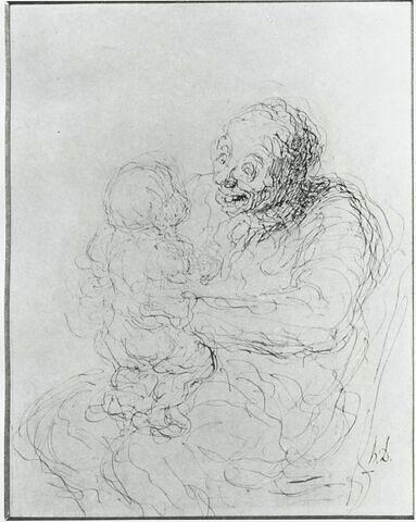 Grand-mère tenant un enfant sur ses genoux