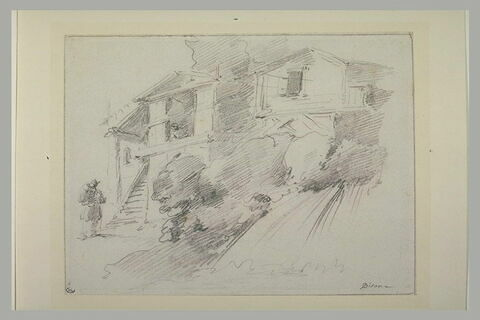 Devant deux maisons, paysan conversant avec une femme