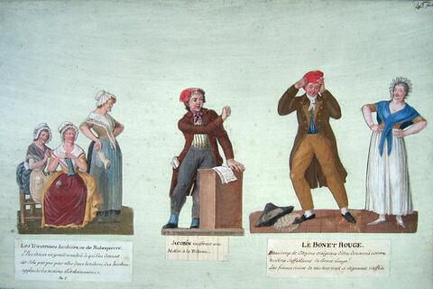 Tricoteuses jacobines, jacobins vociférant à la tribune, citoyen se coiffant du bonnet rouge