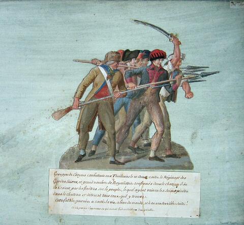 Groupe de citoyens combattant aux Tuileries le 10 Août