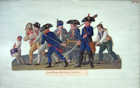 Jeunes hommes allant s'exercer au canon