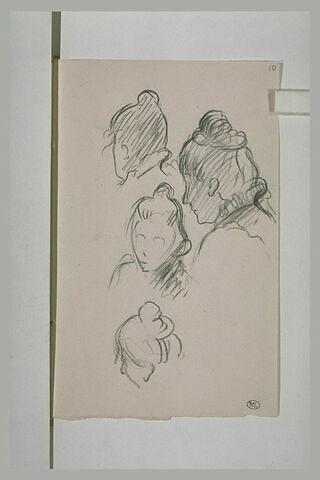 Quatre études de tête de femme coiffée d'un chignon