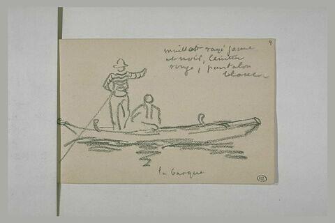 Barque vénitienne et notes manuscrites
