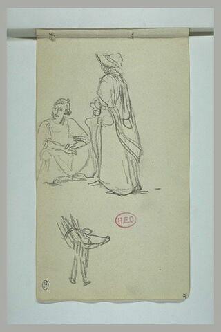 Deux personnages dont l'un assis ; croquis d'une figure portant un fagot